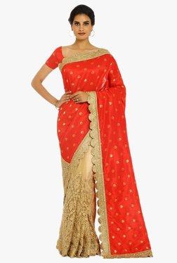 Soch Gold & Red Half & Half Silk Net Saree With Blouse