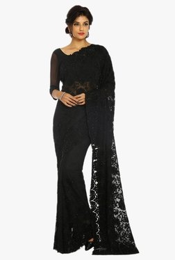 Soch Black Embroidered Georgette Saree With Blouse