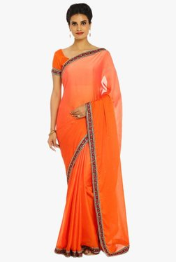 Soch Orange Embellished Chiffon Saree With 2 Blouse