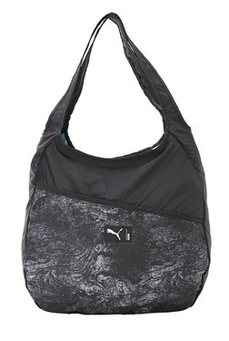 Puma Studio Black & Grey Printed Nylon Hobo Shoulder Bag