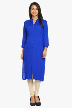 Soch Royal Blue Regular Fit Cotton Kurta