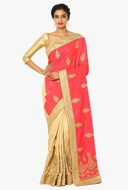 Soch Beige & Coral Half & Half Embroidered Silk Saree