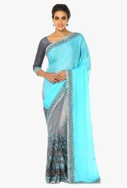 Soch Grey & Blue Half & Half Embroidered Chiffon Net Saree