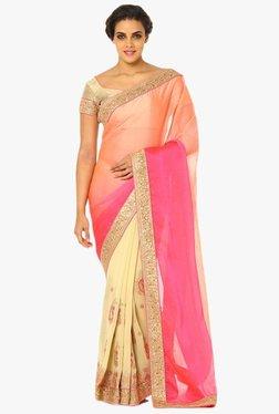 Soch Beige & Pink Half & Half Embroidered Chiffon Saree