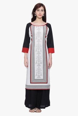Avaana Red & Off White Printed Rayon Kurta
