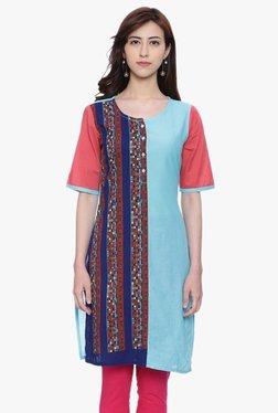Avaana Blue Printed Cotton Cambric Kurta