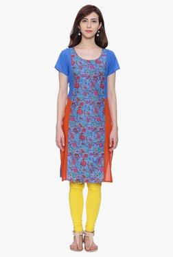 Evam Blue & Orange Floral Print Cotton Cambric Kurta