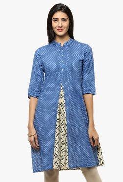 Evam Blue Printed Cotton Cambric Kurta