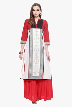 Avaana Red & Off White Printed Cotton Cambric Kurta