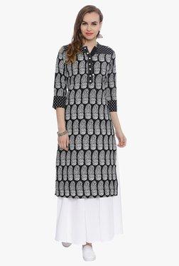 Avaana Black & White Paisley Print Cotton Cambric Kurta