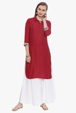 Avaana Red Shirt Collar Rayon Kurta