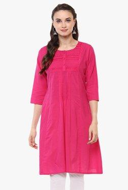 Evam Pink Embroidered Cotton Cambric Kurta