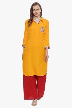 Avaana Mustard Shirt Collar Rayon Kurta