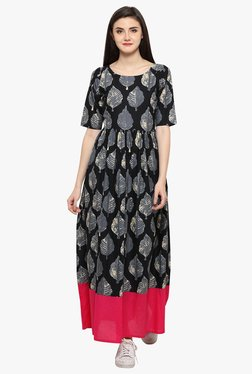 Ahalyaa Black Printed Cotton Flared Anarkali Kurta