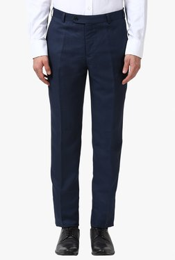 Raymond Navy Mid Rise Solid Slim Fit Trousers