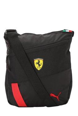 Puma Ferrari Fanwear Black Textured Nylon Sling Bag d74255cfe09bd