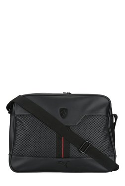 Puma Ferrari LS Reporter Black Perforated PU Sling Bag