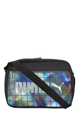 1d97f03eb0be Puma Campus Reporter Black Irredescent Graphic Sling Bag