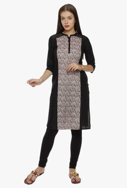 Aurelia Peach & Black Floral Print Cotton Kurta