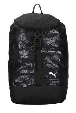 Puma Academy Black & White Printed Nylon Laptop Backpack