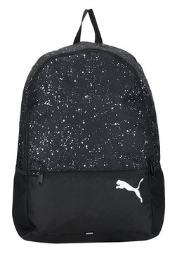 Puma Alpha Black & White Printed Polyester Laptop Backpack