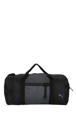 Puma Combat Swan Black & Grey Solid Nylon Gym Bag