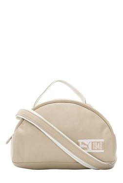 Puma Prime Mini Beige & White Textured Shoulder Bag