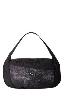 Puma Studio Barrel Black & White Printed Nylon Shoulder Bag