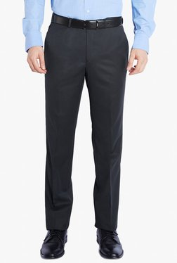 Raymond Navy Contemporary Fit Solid Mid Rise Trousers