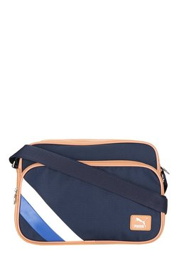 bca283324c27 Puma Ferrari LS Navy   Tan Striped Laptop Sling Bag
