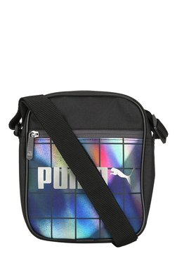 2459af92b009 Puma Campus Black   Blue Printed Polyester Sling Bag