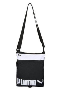 Puma Sole Black & White Solid Polyester Sling Bag