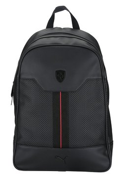 Puma Ferrari LS Black Perforated Leather Laptop Backpack