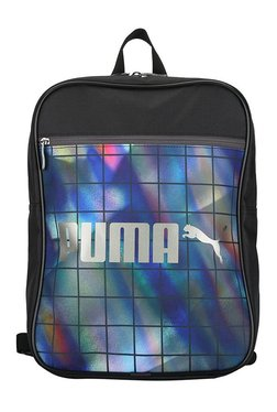 Puma Campus Black & Blue Printed Polyester Backpack