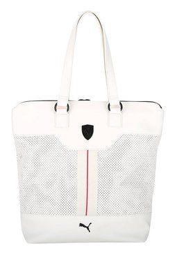 Puma Ferrari LS White Perforated Laptop Tote