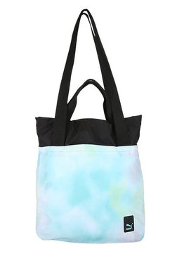 Puma Prime Aruba Blue Printed Polyester Laptop Shoulder Bag