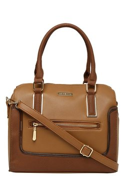 Addons Tan Textured Bowler Shoulder Bag