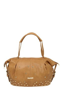 Addons Retro Look Light Brown Embellished Shoulder Bag