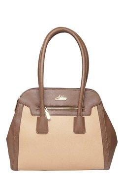 Addons Maison Cream & Brown Color Block Laptop Shoulder Bag