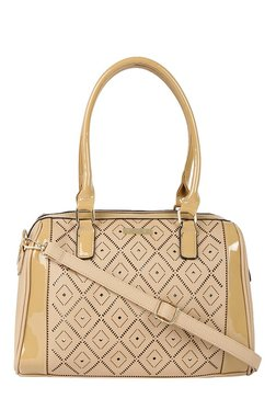 Addons Beige Cut Work Bowler Shoulder Bag