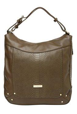 Addons Albina Brown Textured Hobo Shoulder Bag