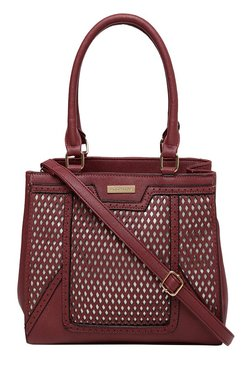 Addons Maroon Cut Work Laptop Shoulder Bag