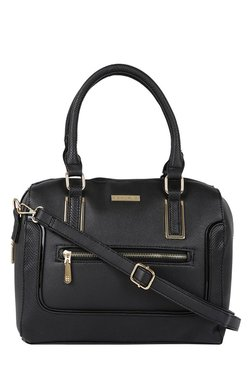 Addons Black Textured Bowler Shoulder Bag