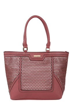 Addons Dark Red Cut Work Laptop Tote