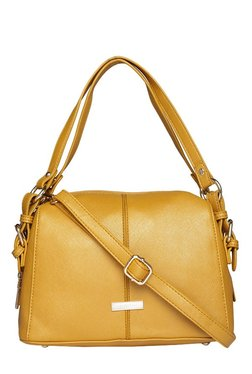 Addons Mustard Yellow Solid Bowler Shoulder Bag