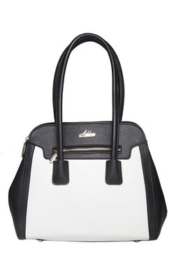 Addons Maison White & Black Color Block Laptop Shoulder Bag
