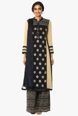 Soch Black & Beige Embroidered Georgette Suit Set