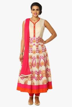 Soch Beige & Pink Embroidered Chanderi Anarkali Suit Set
