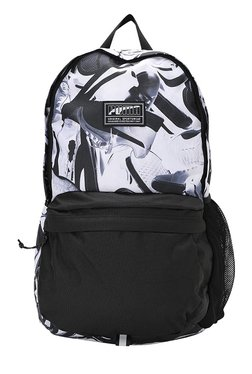 Puma Academy Black & White Printed Polyester Laptop Backpack