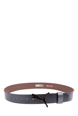 Puma Cat Black Solid Leather Narrow Belt